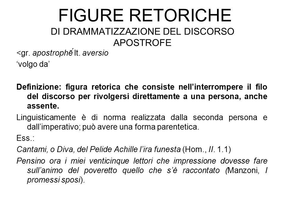 FIGURE RETORICHE DI DRAMMATIZZAZIONE DEL DISCORSO APOSTROFE <gr. apostrophḗ lt. aversio 'volgo da' Definizione: figura retorica che consiste nell'int