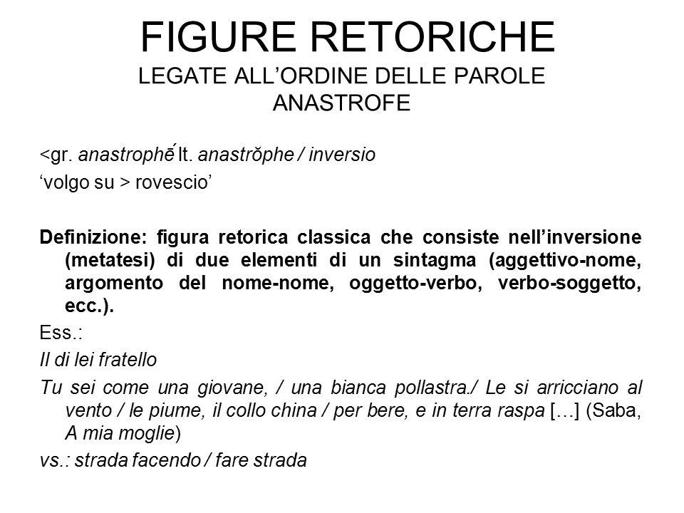 FIGURE RETORICHE LEGATE ALL'ORDINE DELLE PAROLE ANASTROFE <gr. anastrophḗ lt. anastrŏphe / inversio 'volgo su > rovescio' Definizione: figura retoric