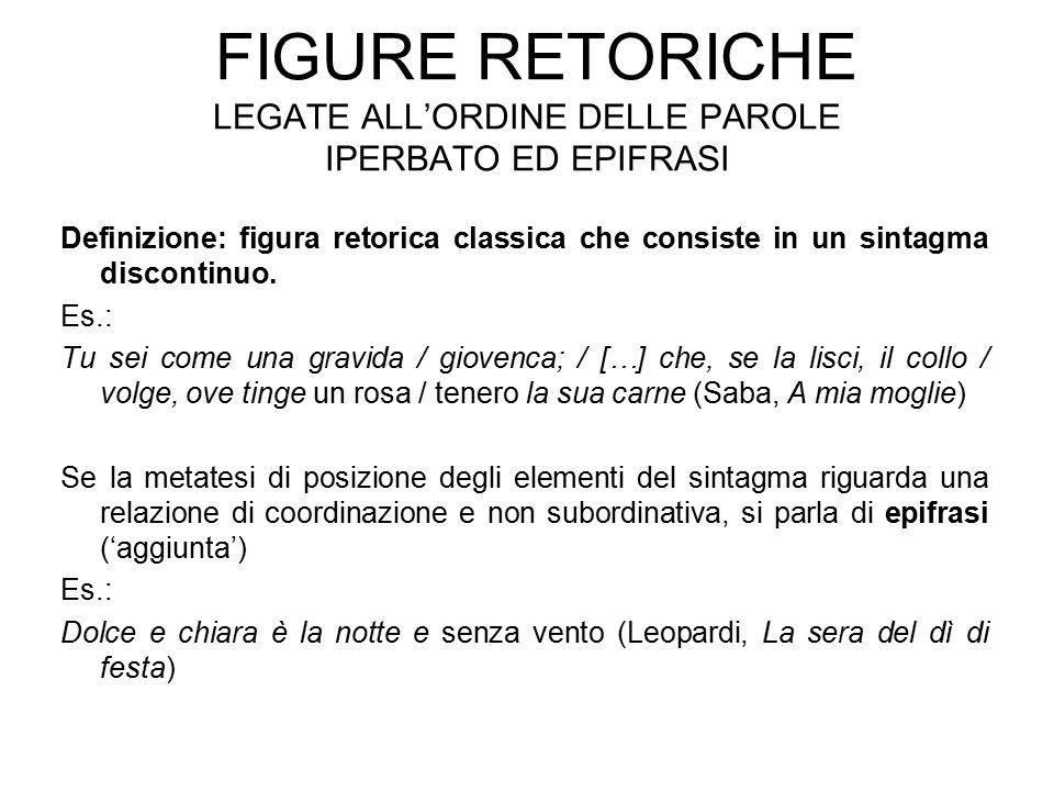 FIGURE RETORICHE LEGATE ALL'ORDINE DELLE PAROLE IPERBATO ED EPIFRASI Definizione: figura retorica classica che consiste in un sintagma discontinuo.