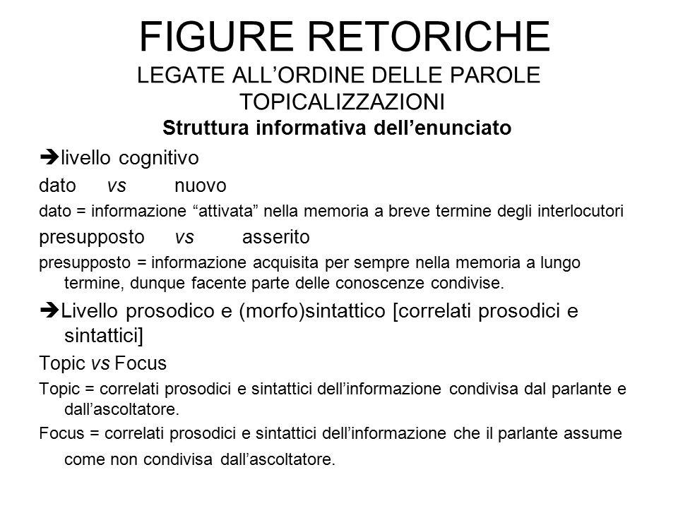 FIGURE RETORICHE LEGATE ALL'ORDINE DELLE PAROLE TOPICALIZZAZIONI Struttura informativa dell'enunciato  livello cognitivo datovsnuovo dato = informazi