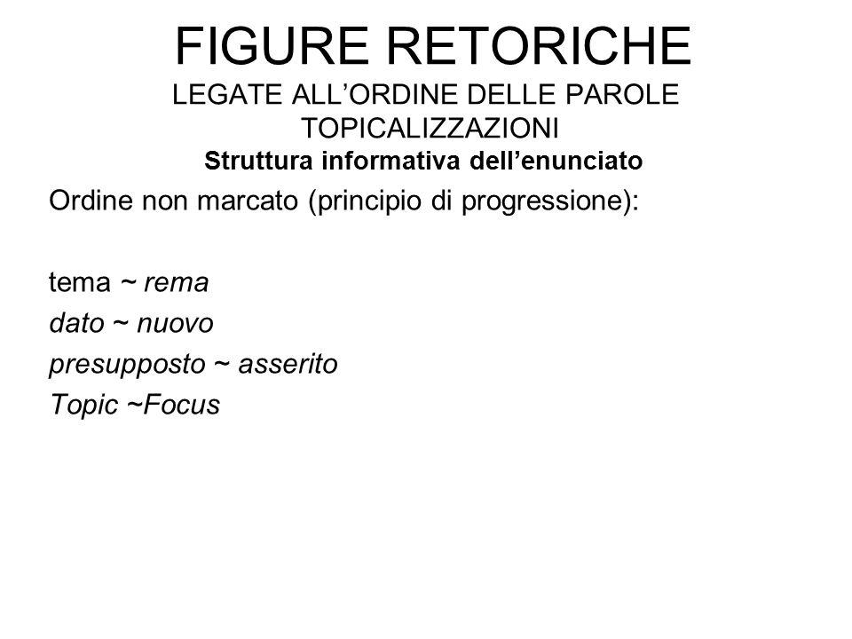 FIGURE RETORICHE LEGATE ALL'ORDINE DELLE PAROLE TOPICALIZZAZIONI Struttura informativa dell'enunciato Ordine non marcato (principio di progressione): tema ~ rema dato ~ nuovo presupposto ~ asserito Topic ~Focus