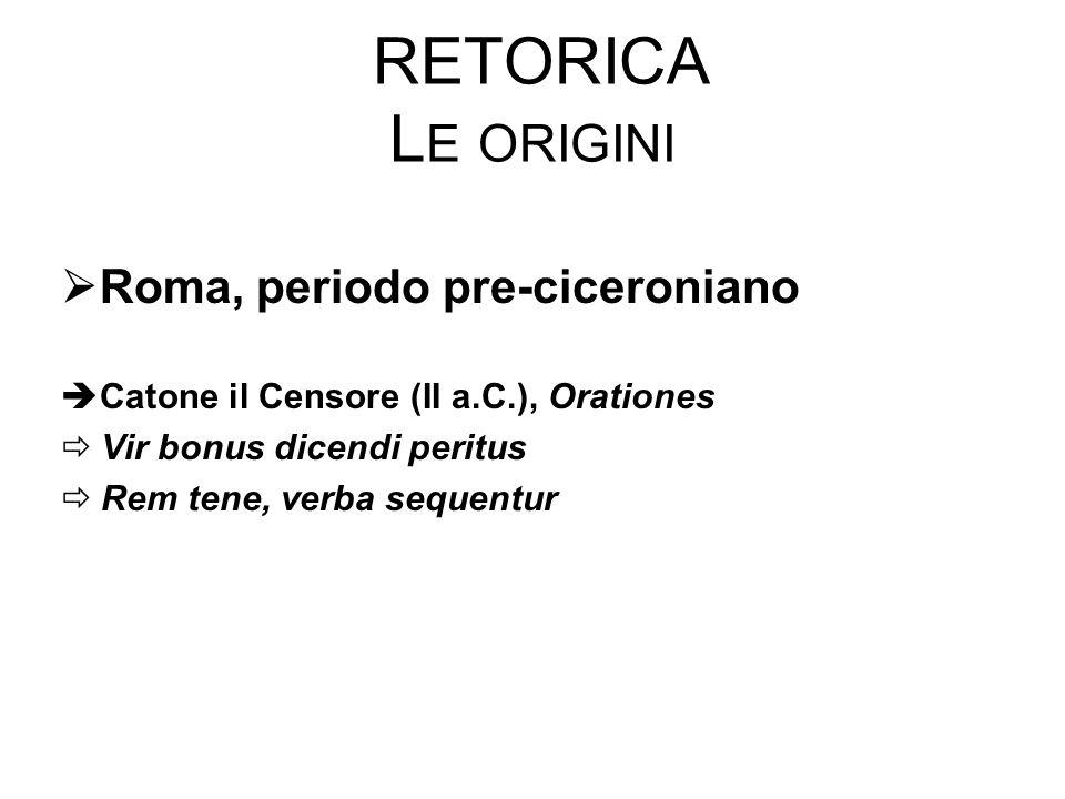 RETORICA L E ORIGINI  Roma, periodo pre-ciceroniano  Catone il Censore (II a.C.), Orationes  Vir bonus dicendi peritus  Rem tene, verba sequentur