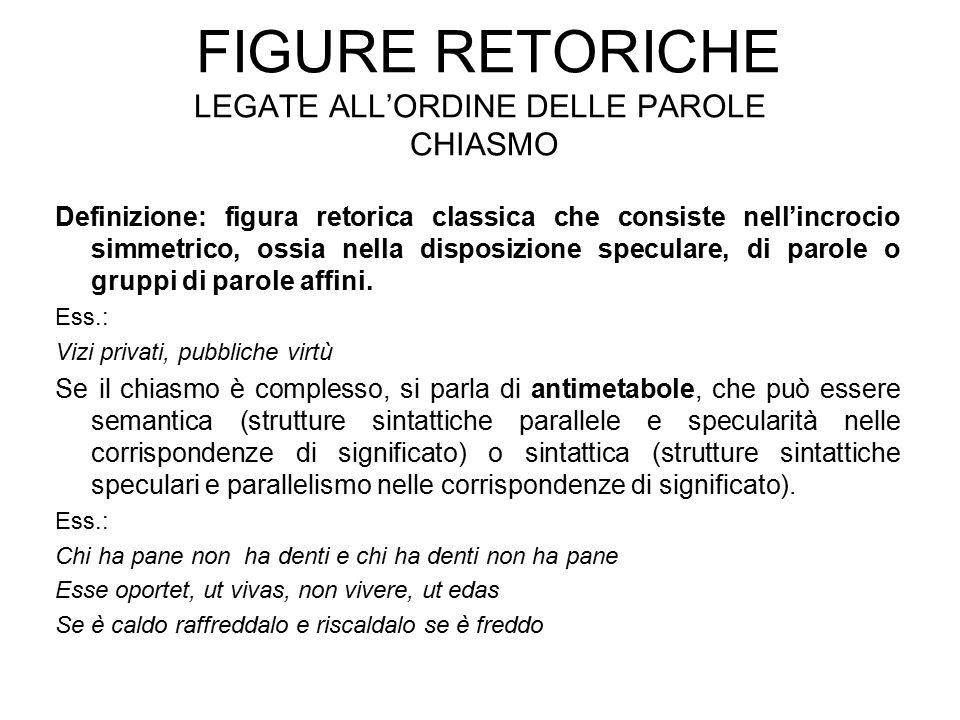 FIGURE RETORICHE LEGATE ALL'ORDINE DELLE PAROLE CHIASMO Definizione: figura retorica classica che consiste nell'incrocio simmetrico, ossia nella dispo