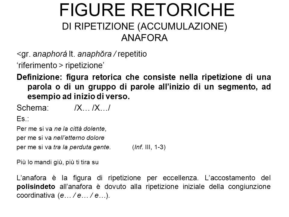 FIGURE RETORICHE DI RIPETIZIONE (ACCUMULAZIONE) ANAFORA <gr. anaphorá lt. anaphŏra / repetitio 'riferimento > ripetizione' Definizione: figura retoric