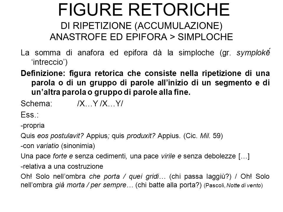 FIGURE RETORICHE DI RIPETIZIONE (ACCUMULAZIONE) ANASTROFE ED EPIFORA > SIMPLOCHE La somma di anafora ed epifora dà la simploche (gr. symplokḗ 'intrec