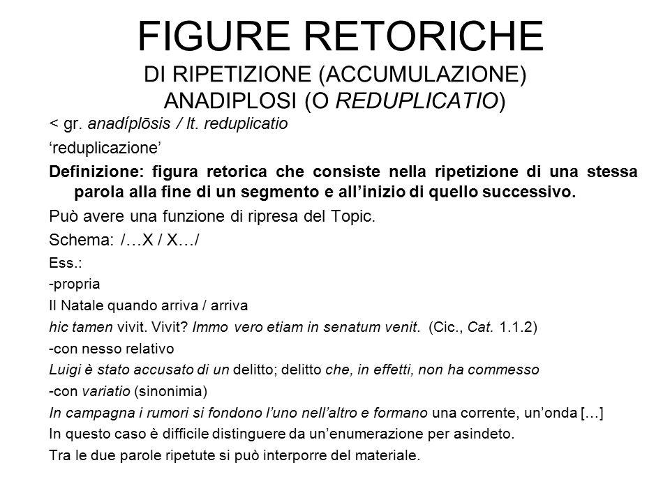 FIGURE RETORICHE DI RIPETIZIONE (ACCUMULAZIONE) ANADIPLOSI (O REDUPLICATIO) < gr. anadíplōsis / lt. reduplicatio 'reduplicazione' Definizione: figura