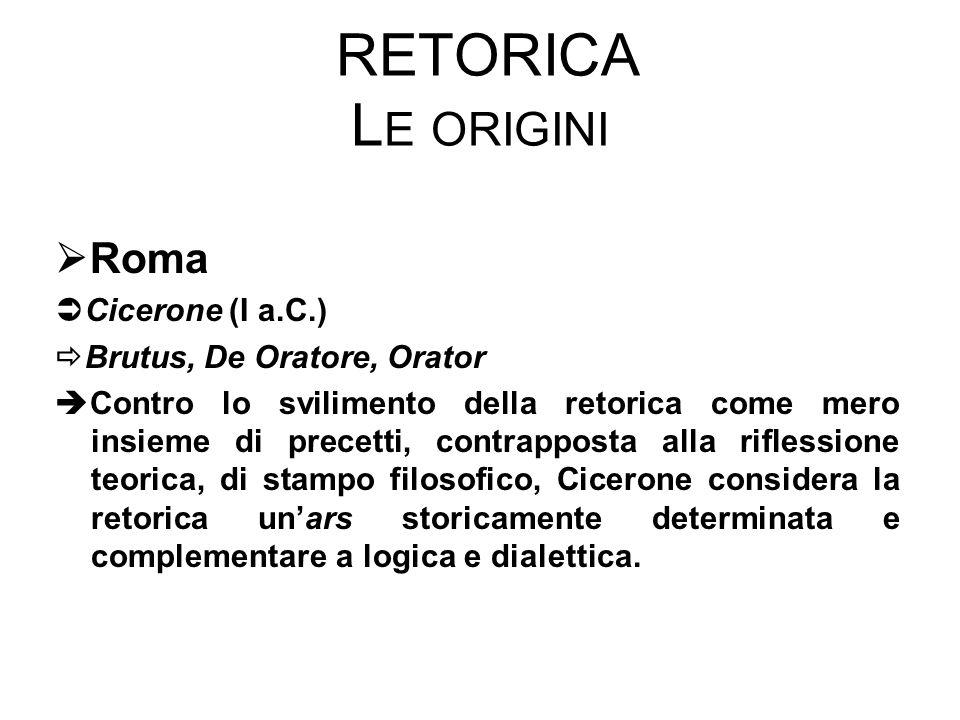 RETORICA L E ORIGINI  Roma  Cicerone (I a.C.)  Brutus, De Oratore, Orator  Contro lo svilimento della retorica come mero insieme di precetti, contrapposta alla riflessione teorica, di stampo filosofico, Cicerone considera la retorica un'ars storicamente determinata e complementare a logica e dialettica.