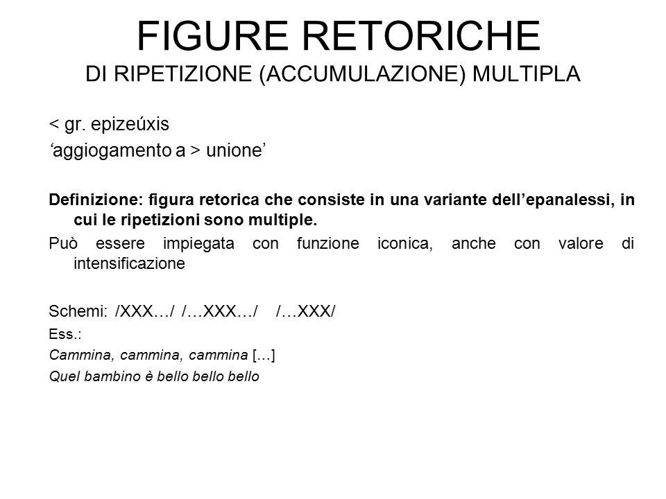 FIGURE RETORICHE DI RIPETIZIONE (ACCUMULAZIONE) MULTIPLA < gr. epizeúxis 'aggiogamento a > unione' Definizione: figura retorica che consiste in una va
