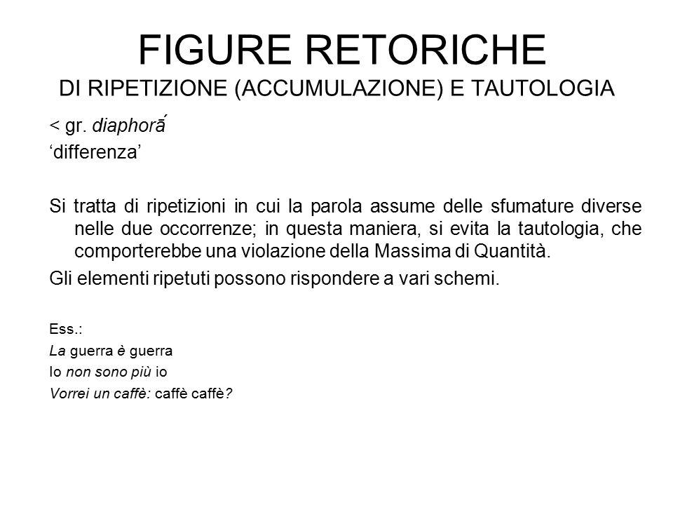 FIGURE RETORICHE DI RIPETIZIONE (ACCUMULAZIONE) E TAUTOLOGIA < gr.