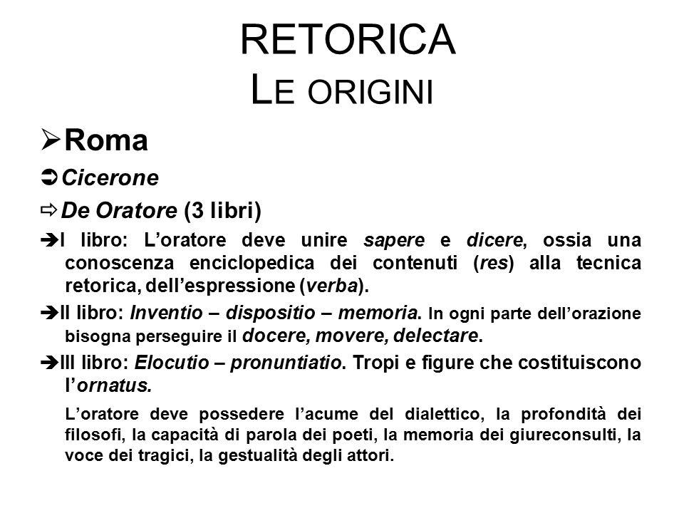 RETORICA L E ORIGINI  Roma  Cicerone  De Oratore (3 libri)  I libro: L'oratore deve unire sapere e dicere, ossia una conoscenza enciclopedica dei contenuti (res) alla tecnica retorica, dell'espressione (verba).