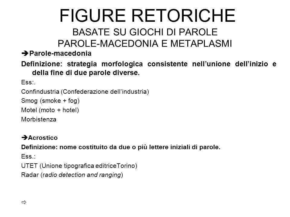 FIGURE RETORICHE BASATE SU GIOCHI DI PAROLE PAROLE-MACEDONIA E METAPLASMI  Parole-macedonia Definizione: strategia morfologica consistente nell'union