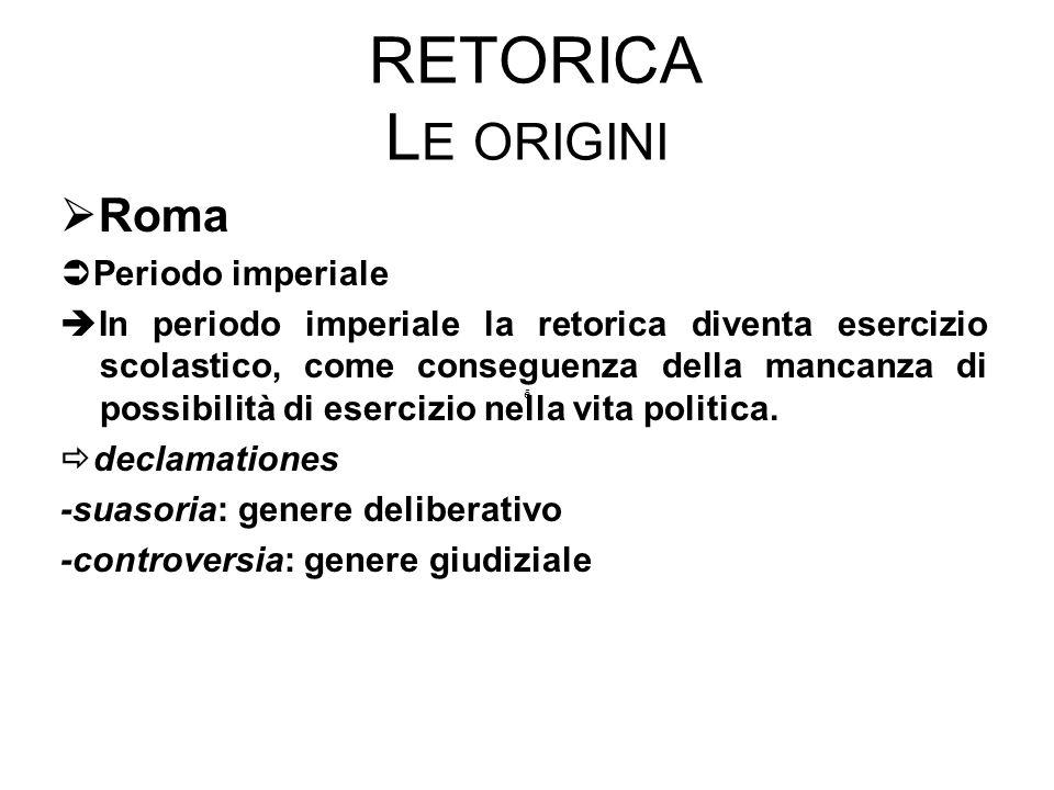 RETORICA L E ORIGINI  Roma  Periodo imperiale  In periodo imperiale la retorica diventa esercizio scolastico, come conseguenza della mancanza di po