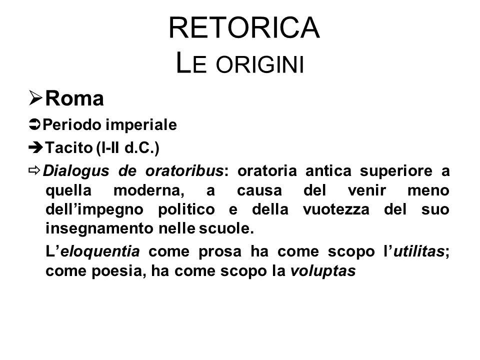 RETORICA L E ORIGINI  Roma  Periodo imperiale  Tacito (I-II d.C.)  Dialogus de oratoribus: oratoria antica superiore a quella moderna, a causa del venir meno dell'impegno politico e della vuotezza del suo insegnamento nelle scuole.