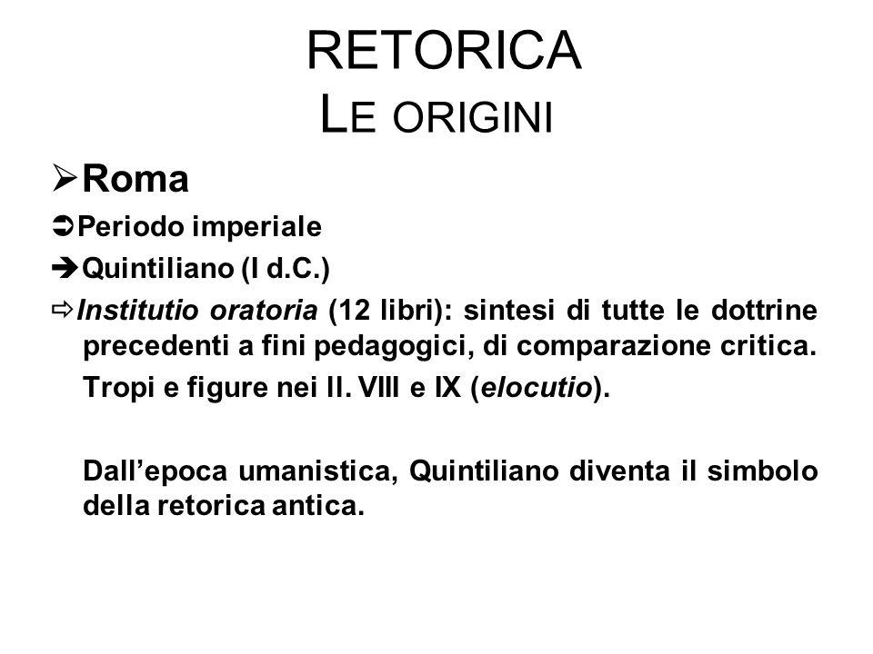 RETORICA L E ORIGINI  Roma  Periodo imperiale  Quintiliano (I d.C.)  Institutio oratoria (12 libri): sintesi di tutte le dottrine precedenti a fini pedagogici, di comparazione critica.