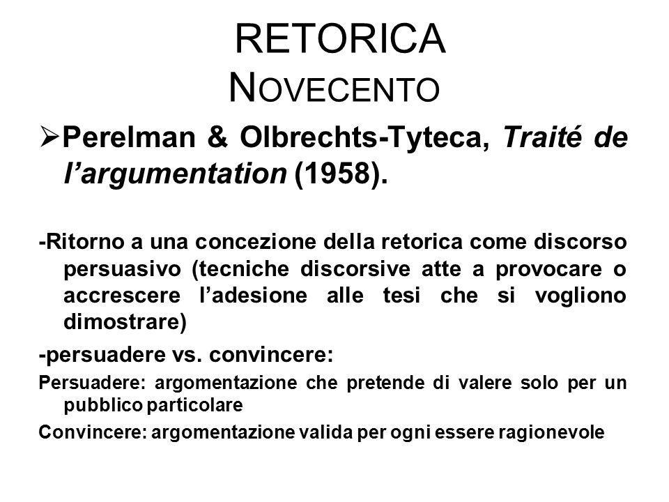 RETORICA N OVECENTO  Perelman & Olbrechts-Tyteca, Traité de l'argumentation (1958). -Ritorno a una concezione della retorica come discorso persuasivo
