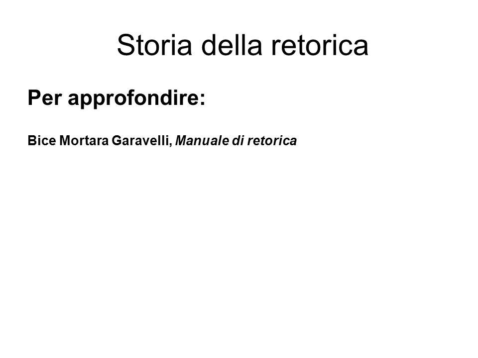 Storia della retorica Per approfondire: Bice Mortara Garavelli, Manuale di retorica