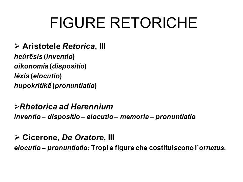 FIGURE RETORICHE  Aristotele Retorica, III heúrēsis (inventio) oikonomía (dispositio) léxis (elocutio) hupokritikḗ (pronuntiatio)  Rhetorica ad Her
