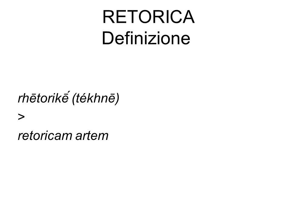 RETORICA Definizione 1 TS ret., arte e tecnica della comunicazione e della persuasione attraverso il parlare e lo scrivere secondo regole determinate per la prima volta dai sofisti nella Grecia antica e sviluppatesi poi nei secoli secondo le età e le culture: la r.
