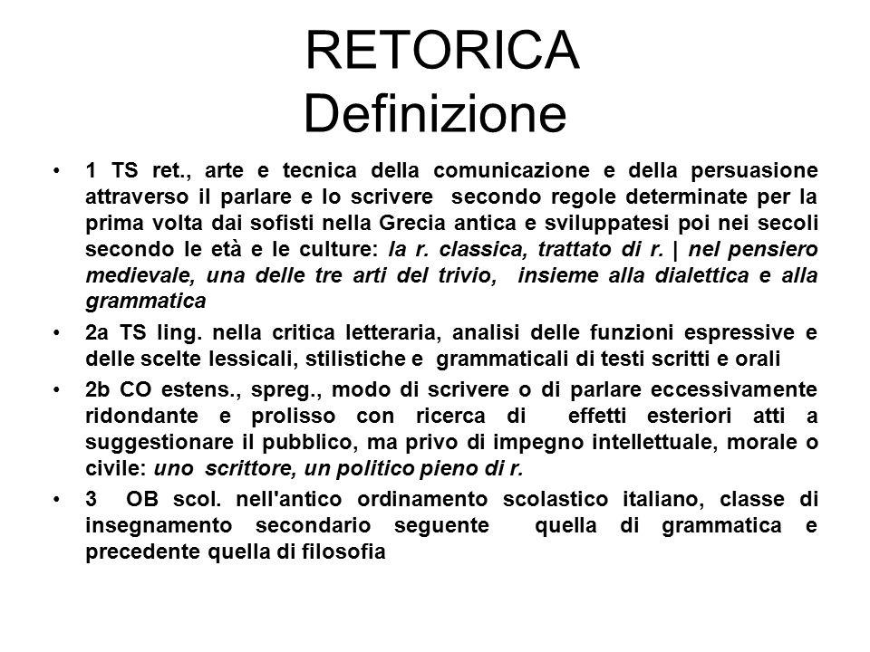 RETORICA Definizione 1 TS ret., arte e tecnica della comunicazione e della persuasione attraverso il parlare e lo scrivere secondo regole determinate