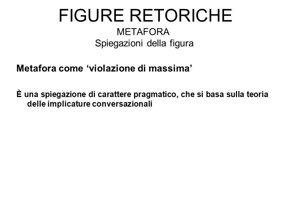 FIGURE RETORICHE METAFORA Spiegazioni della figura Metafora come 'violazione di massima' È una spiegazione di carattere pragmatico, che si basa sulla teoria delle implicature conversazionali