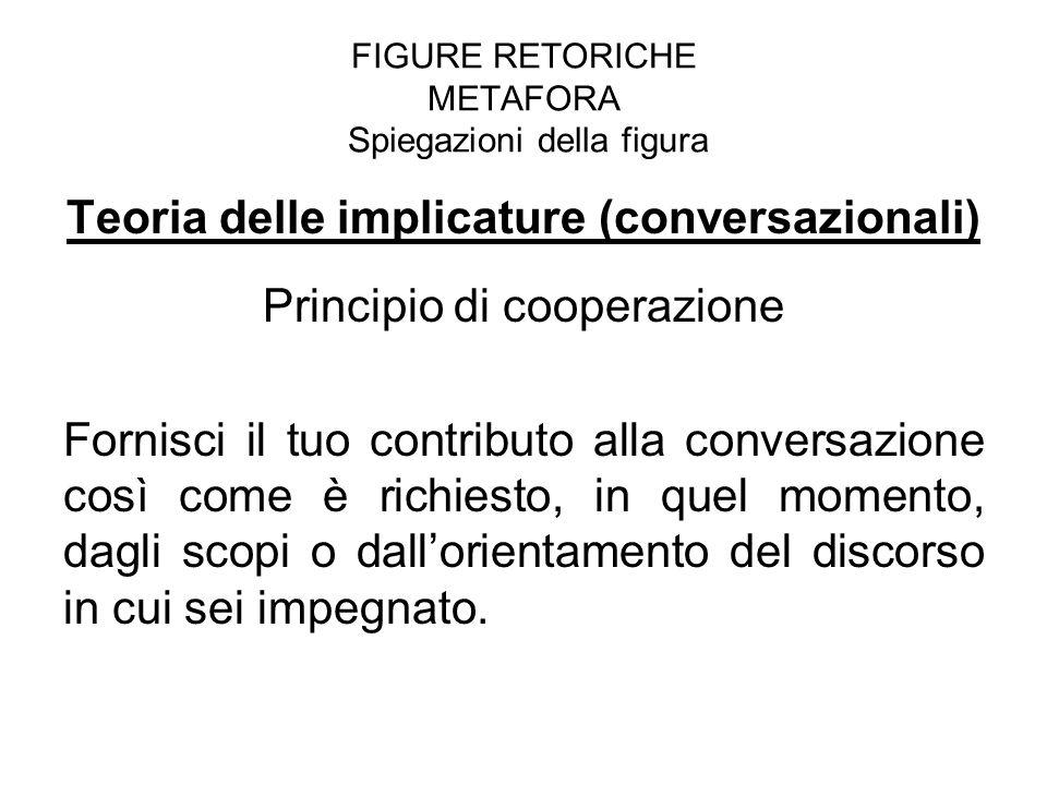 FIGURE RETORICHE METAFORA Spiegazioni della figura Teoria delle implicature (conversazionali) Principio di cooperazione Fornisci il tuo contributo all