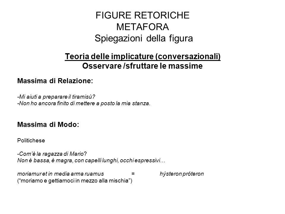 FIGURE RETORICHE METAFORA Spiegazioni della figura Teoria delle implicature (conversazionali) Osservare /sfruttare le massime Massima di Relazione: -M