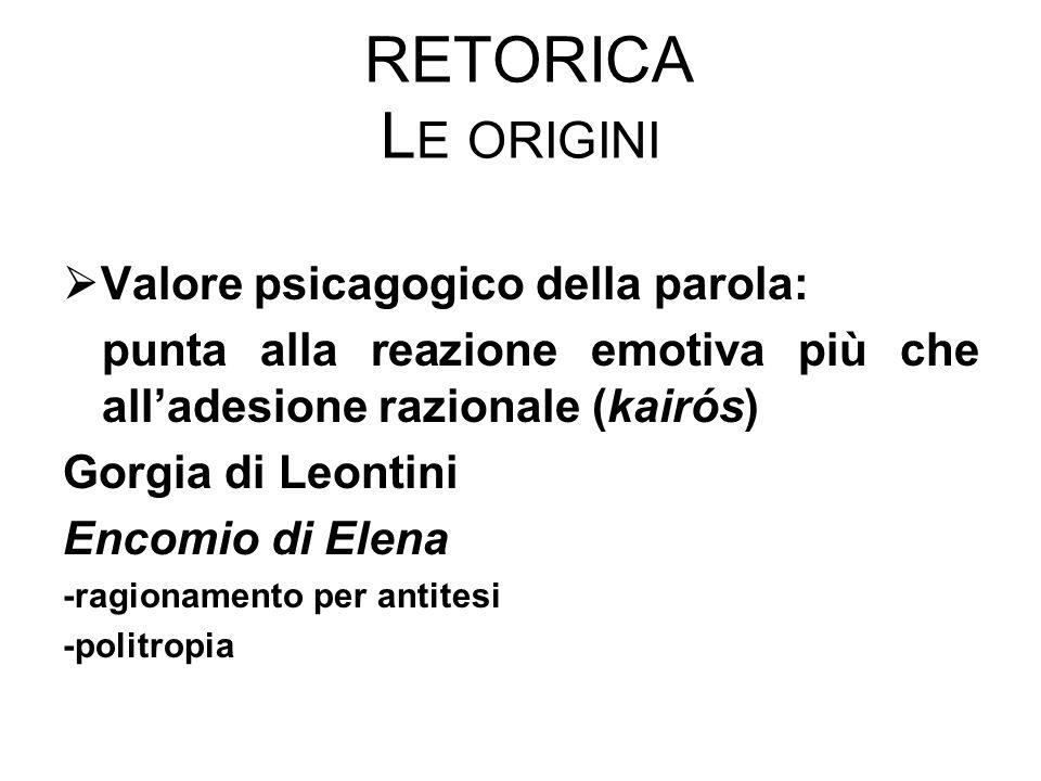 RETORICA L E ORIGINI  Valore psicagogico della parola: punta alla reazione emotiva più che all'adesione razionale (kairós) Gorgia di Leontini Encomio