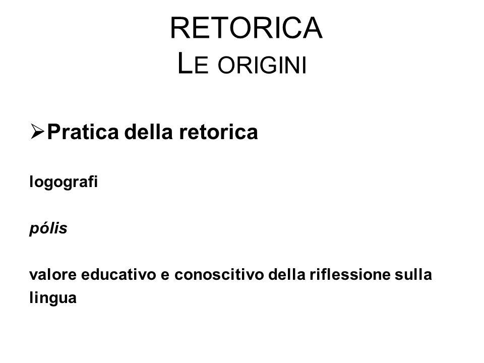 RETORICA L E ORIGINI  Pratica della retorica logografi pólis valore educativo e conoscitivo della riflessione sulla lingua