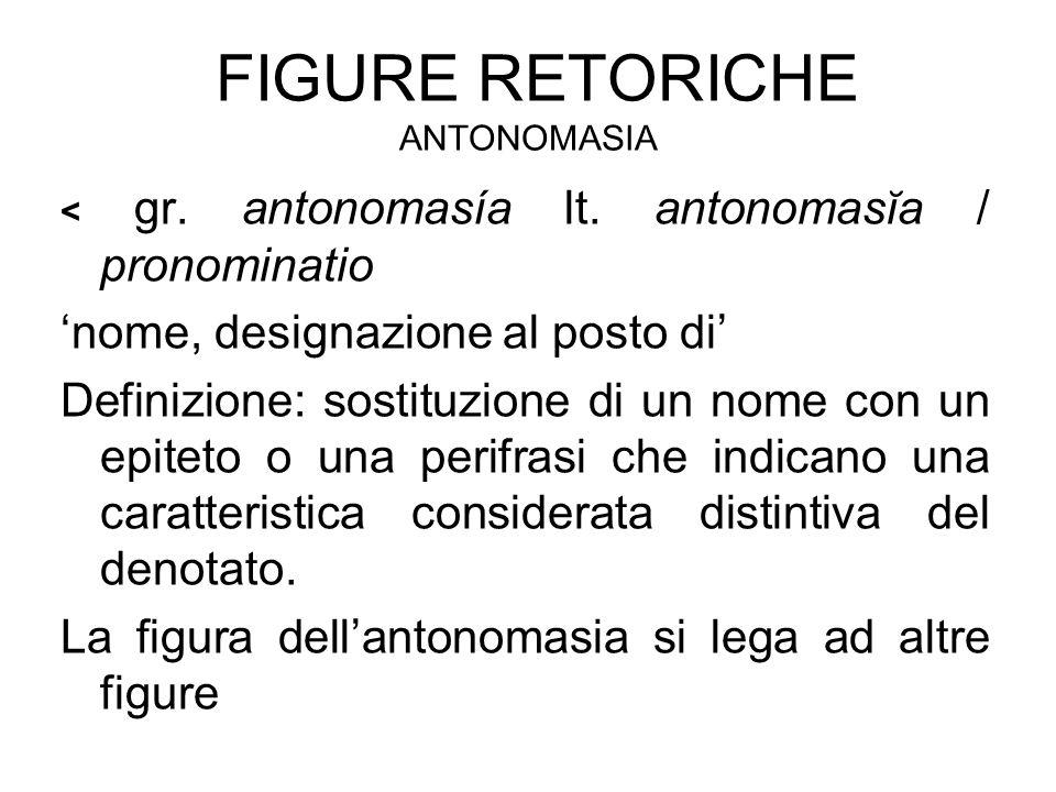 FIGURE RETORICHE ANTONOMASIA < gr. antonomasía lt. antonomasĭa / pronominatio 'nome, designazione al posto di' Definizione: sostituzione di un nome co