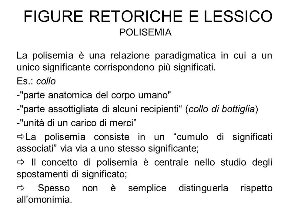FIGURE RETORICHE E LESSICO POLISEMIA La polisemia è una relazione paradigmatica in cui a un unico significante corrispondono più significati. Es.: col