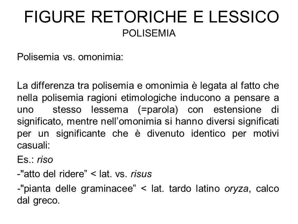FIGURE RETORICHE E LESSICO POLISEMIA Polisemia vs. omonimia: La differenza tra polisemia e omonimia è legata al fatto che nella polisemia ragioni etim