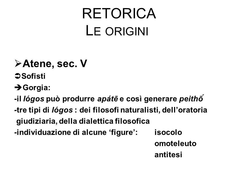 RETORICA L E ORIGINI  Atene, sec. V  Sofisti  Gorgia: -il lógos può produrre apátē e così generare peithṓ -tre tipi di lógos : dei filosofi natura