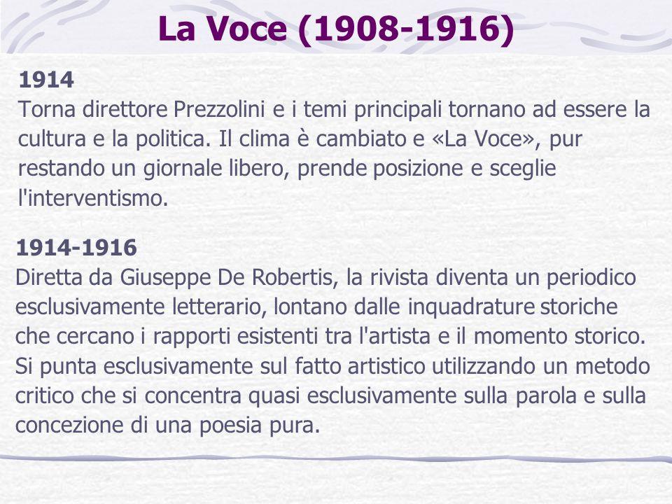 La Voce (1908-1916) 1914 Torna direttore Prezzolini e i temi principali tornano ad essere la cultura e la politica. Il clima è cambiato e «La Voce», p