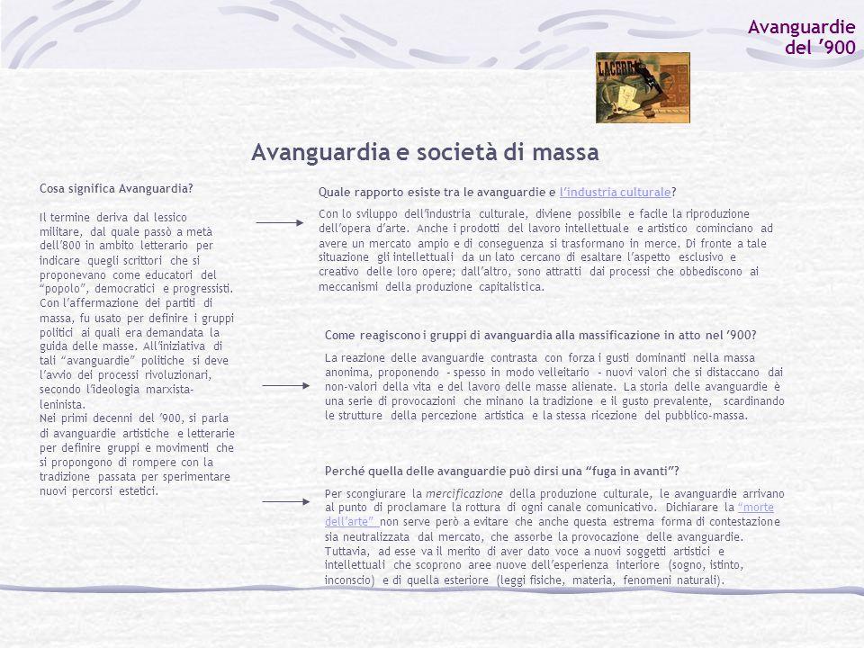 Avanguardie del ' 900 Avanguardia e società di massa Cosa significa Avanguardia.