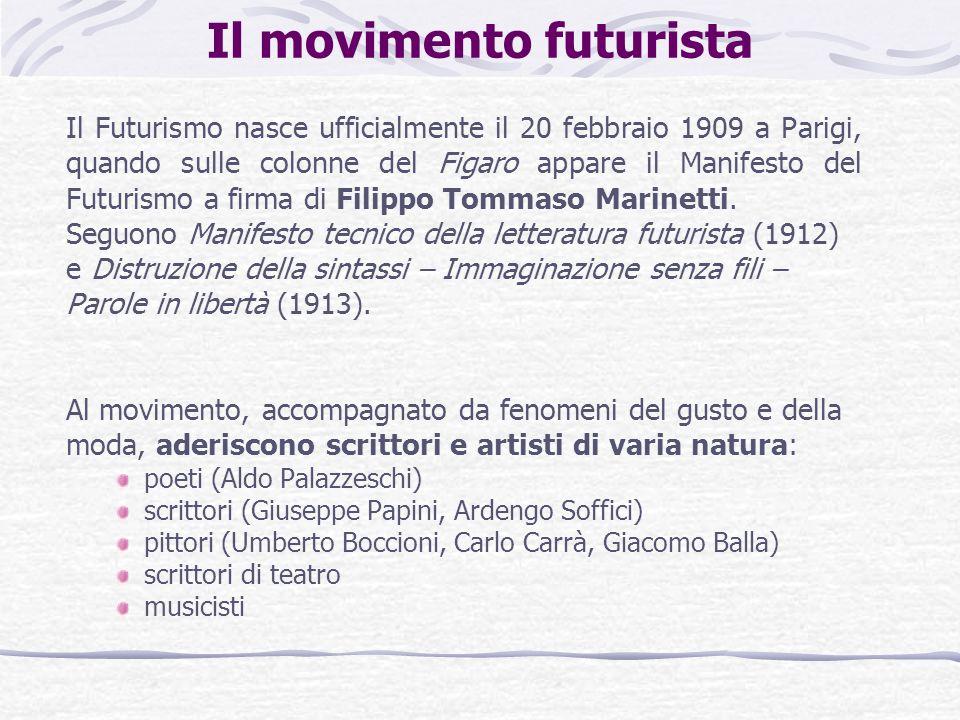 Il movimento futurista Il Futurismo nasce ufficialmente il 20 febbraio 1909 a Parigi, quando sulle colonne del Figaro appare il Manifesto del Futurismo a firma di Filippo Tommaso Marinetti.