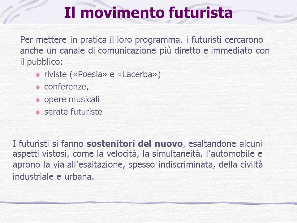 Il movimento futurista Per mettere in pratica il loro programma, i futuristi cercarono anche un canale di comunicazione più diretto e immediato con il