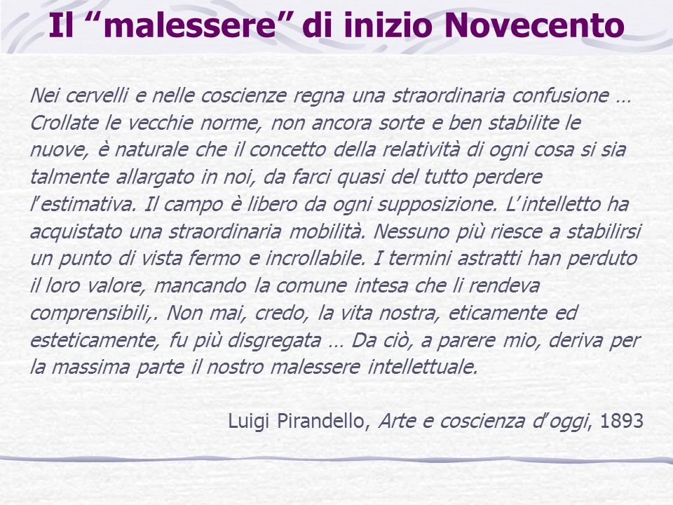 Le posizioni degli intellettuali italiani Futuristi: tendono a risolvere la crisi storica e intellettuale in un frenetico attivismo, nell'esaltazione incondizionata della civiltà industriale, nella celebrazione della macchina e della velocità.
