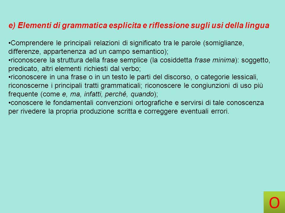 e) Elementi di grammatica esplicita e riflessione sugli usi della lingua Comprendere le principali relazioni di significato tra le parole (somiglianze