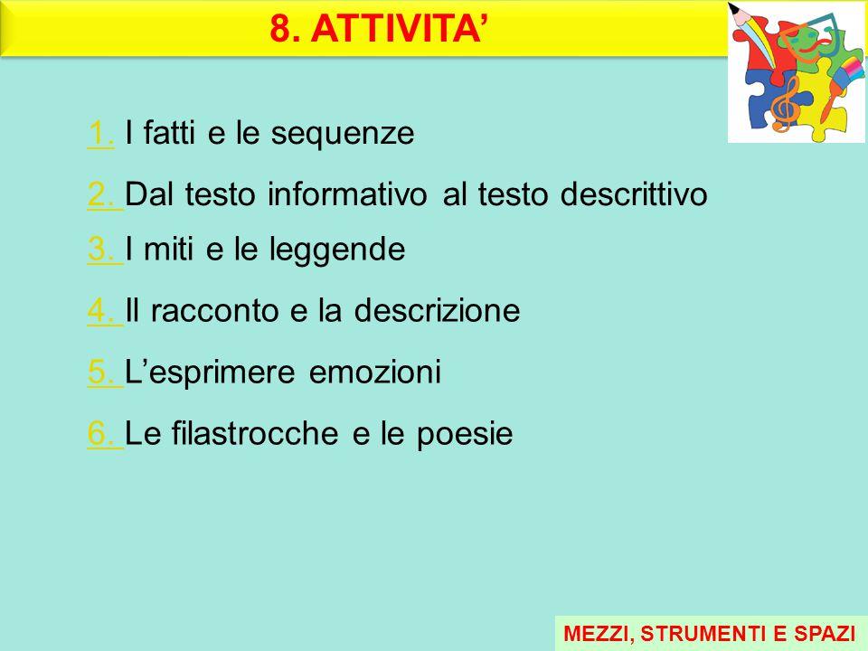 8. ATTIVITA' 1.1. I fatti e le sequenze 2. 2. Dal testo informativo al testo descrittivo 3. 3. I miti e le leggende 4. 4. Il racconto e la descrizione