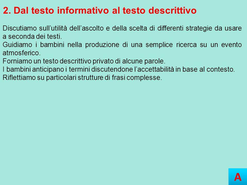A A 2. Dal testo informativo al testo descrittivo Discutiamo sull'utilità dell'ascolto e della scelta di differenti strategie da usare a seconda dei t