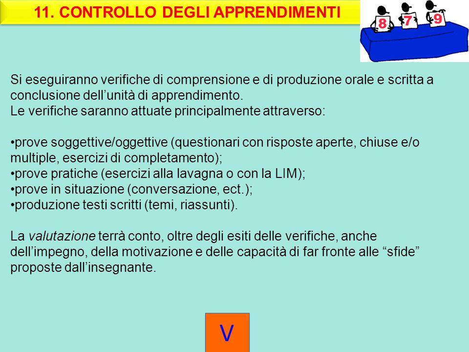 11. CONTROLLO DEGLI APPRENDIMENTI Si eseguiranno verifiche di comprensione e di produzione orale e scritta a conclusione dell'unità di apprendimento.