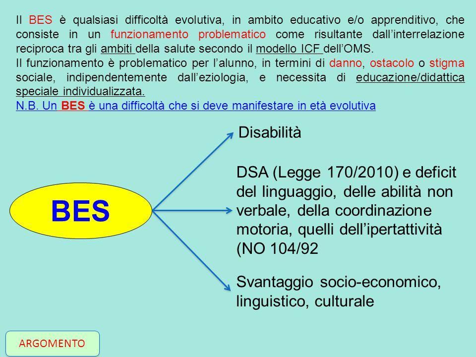BES Disabilità DSA (Legge 170/2010) e deficit del linguaggio, delle abilità non verbale, della coordinazione motoria, quelli dell'ipertattività (NO 10