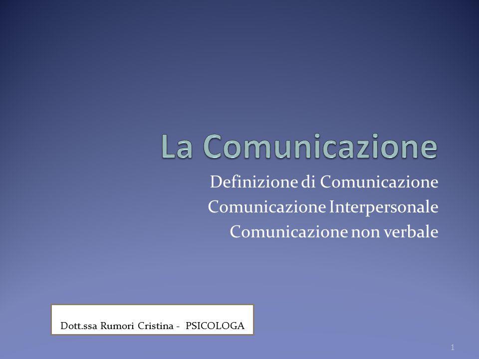 Definizione di Comunicazione Comunicazione Interpersonale Comunicazione non verbale 1 Dott.ssa Rumori Cristina - PSICOLOGA