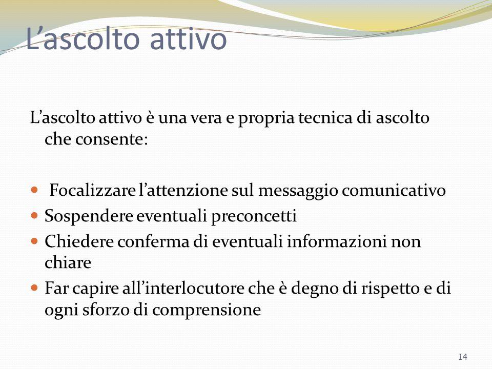 L'ascolto attivo L'ascolto attivo è una vera e propria tecnica di ascolto che consente: Focalizzare l'attenzione sul messaggio comunicativo Sospendere