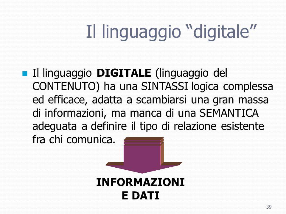 """39 Il linguaggio """"digitale"""" Il linguaggio DIGITALE (linguaggio del CONTENUTO) ha una SINTASSI logica complessa ed efficace, adatta a scambiarsi una gr"""