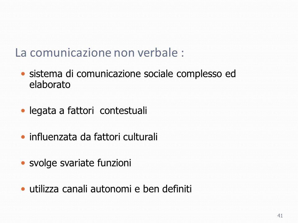 La comunicazione non verbale : sistema di comunicazione sociale complesso ed elaborato legata a fattori contestuali influenzata da fattori culturali s