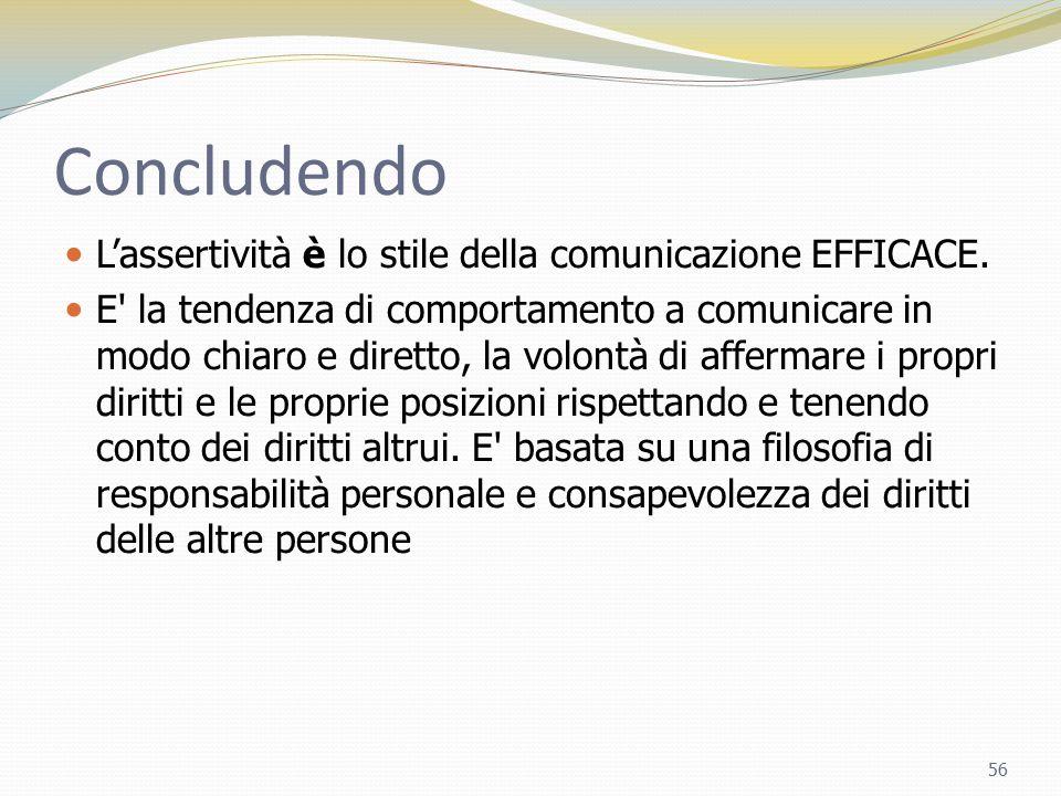 Concludendo L'assertività è lo stile della comunicazione EFFICACE. E' la tendenza di comportamento a comunicare in modo chiaro e diretto, la volontà d
