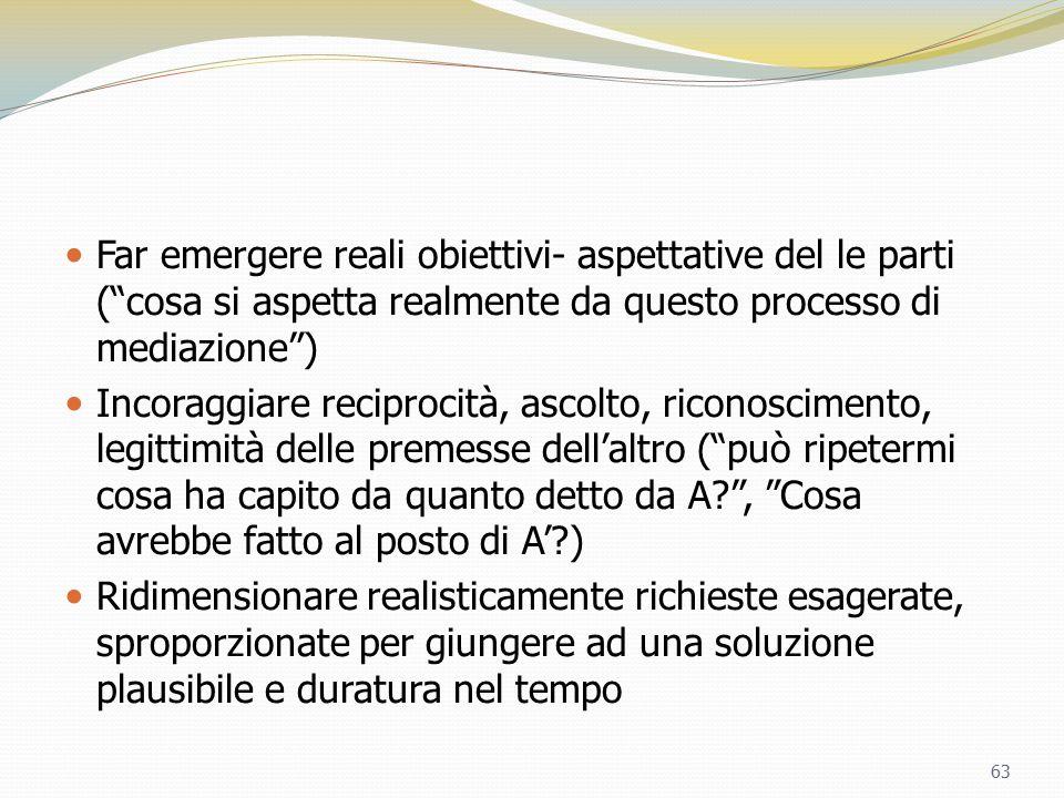 """Far emergere reali obiettivi- aspettative del le parti (""""cosa si aspetta realmente da questo processo di mediazione"""") Incoraggiare reciprocità, ascolt"""