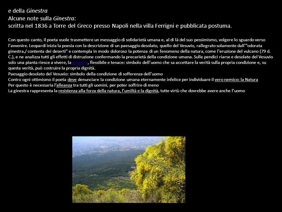 e della Ginestra Alcune note sulla Ginestra: scritta nel 1836 a Torre del Greco presso Napoli nella villa Ferrigni e pubblicata postuma.