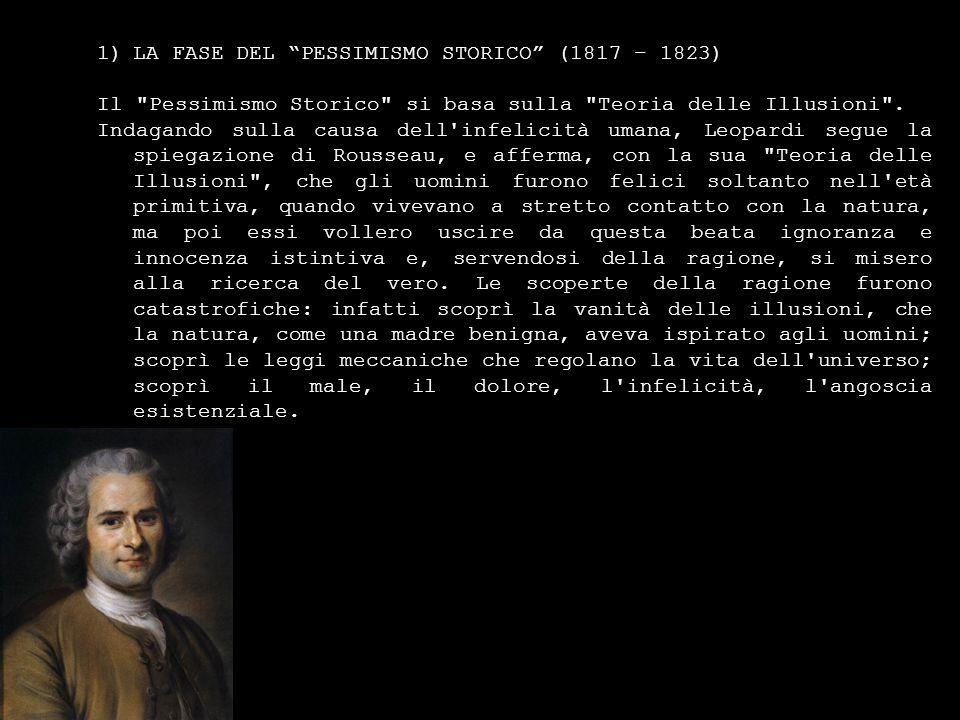 1)LA FASE DEL PESSIMISMO STORICO (1817 – 1823) Il Pessimismo Storico si basa sulla Teoria delle Illusioni .